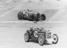 Mercedes SS(Campbell/Staniland) and MG (Hamilton/Gardner). Photo  at Brooklands 1000 miles 1932